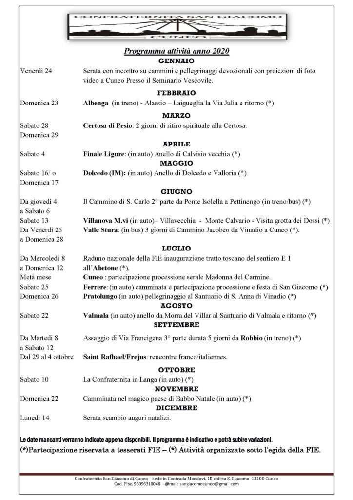 Calendario 2020 Confraternita di San Giacomo